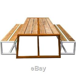 BENCH Industrial Style Oak & Steel Garden Bench to go with listed table or sep
