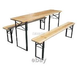 BIRCHTREE Outdoor Wooden Folding Beer Table Bench Set Trestle Garden Steel Leg