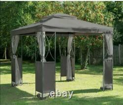 Beautiful! Grey Luxury Metal Framed Garden Gazebo 2.5x2.5m free postage