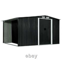 Best! Garden Shed with Sliding Doors Anthracite Steel Outdoor Storage House