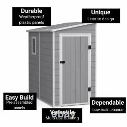 BillyOh Newport Lean To Plastic Outdoor Garden Storage Shed Grey Floor Included