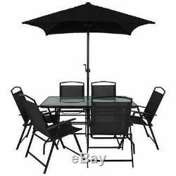 Black Garden Outdoor Furniture 6 Seater Metal Patio Set Table Chairs And Parasol