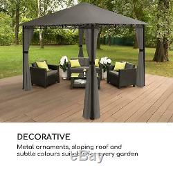 Blumfeldt Mondo Garden Pavilion Party Tent Gazebo Steel Polyester Dark Grey