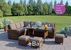 Brown 9 Seater Rattan Corner Garden Furniture Set & Dining Table + FREE COVER
