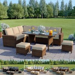 Brown Rattan Garden Furniture 9 Seater Corner Sofa Set Dining Table Free Cover