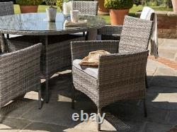 Casa Rattan' Grey Round 6 Seater Outdoor Garden Furniture Dining Table Set