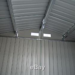Charles Bentley 8ft x 10ft Metal Garden Shed Outdoor Storage Grey H198 x W301 cm