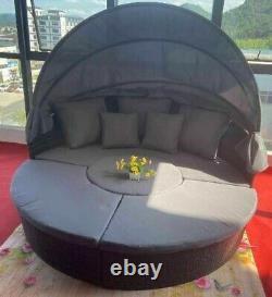 Clearance Rattan Sun Outdoor Garden Furniture Day Bed Sofa Lounger Canopy