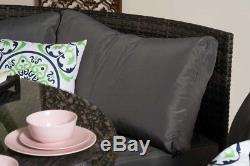 Conservatory Modular 5 Seater Rattan Corner Sofa Set Garden Furniture Grey A1