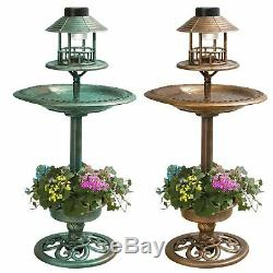 Copper Effect Bird Bath Bird Feeding Table Station Solar Light Outdoor Garden