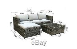 CosmoLiving Rattan Outdoor Garden Furniture Set Grey Malaga Cushion Patio New
