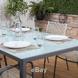 Cosmopolitan Steel & Poly Weave Garden Furniture Dining Table & Chairs Set