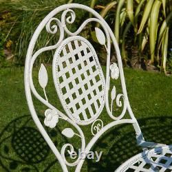 Cream Bistro Set Outdoor Patio Garden Furniture Table and 2 Chairs Metal Frame