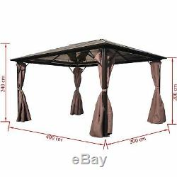 Durable Gazebo with Curtain Garden Shelter Tent Canopy Brown Aluminium 2 Sizes