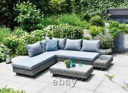 GSD St Lucia Corner Sofa Sunlounger Rattan Luxury Garden Set 5 Year Warranty