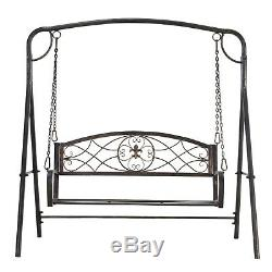 Garden 2-Seat Free Standing Metal Porch Swing Chair Bench with Stand Set