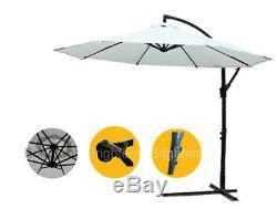Garden 3M Cantilever Parasol Hanging Umbrella Patio Bistro Sun Canopy KU30C