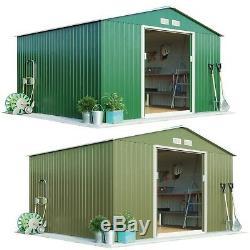 Garden Apex Roof Metal Shed 9.1'x8.4' Sliding Doors Outdoor Storage Waltons- New