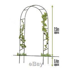 Garden Arch 2M Plant Climbing Trellis Metal Archway Arbour Arched Frame Tubular