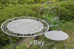 Garden Bistro Set Metal Patio Furniture Table Chairs Garden 3 Piece Antique Grey