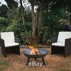 Garden Fire Pit with Carry Handles, Cast Iron Brazier Flame Basket, 85.5cm
