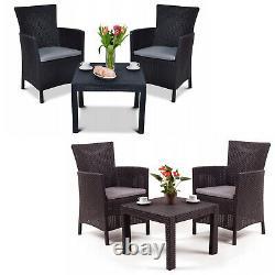 Garden Furniture Set 3 Pieces Chair Table Cushion Keter Outdoor Patio Balcony UK