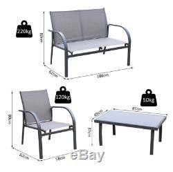 Garden Furniture Set Metal Conservatory Patio Lounge Sofa Chairs Glass Table 4pc