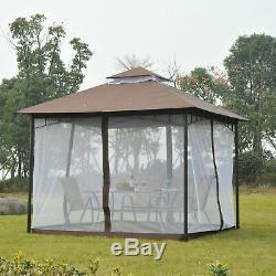 Garden Gazebo Wedding Canopy Shelter Mesh Squre Party Brown 3 x 3m