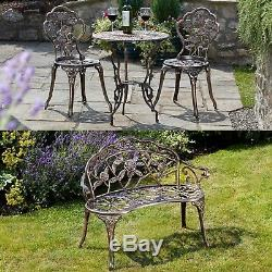 Garden Gear Bench or Bistro Set Provence Rose Steel Metal Outdoor Patio Chairs