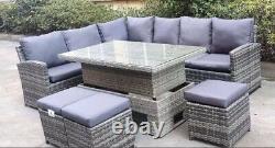Garden Grey Rattan Furniture Corner Sofa Dinning Set Rising Table 3 x Stool