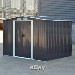 Garden Metal Shed House 6x4, 8x4, 8x6ft, 10x8ft Steel Shed Galvanized Frame Base