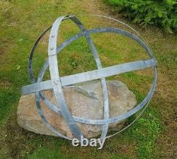 Garden Metal Sphere Sculpture Reclaimed Galvanized Wine barrel hoop ring 56-68cm