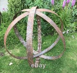 Garden Metal Sphere Sculpture Reclaimed Rusty Whisky Barrel hoop ring 55-65cm