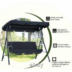 Garden Metal Swing Chair 3 Seater Hammock Patio Canopy Bench Lounger LONENESSL