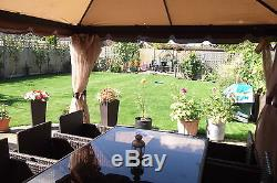 Garden Party Hot Tub Gazebo Shelter With Beige Curtains & Mosquito Nets