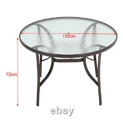 Garden Patio Furniture Set Outdoor Cafe Round Table Stacking Chairs Parasol Hole