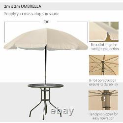 Garden Patio Textilene Folding Chairs Table Parasol Furniture Bistro Set Beige