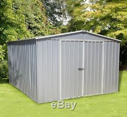 Garden Pro Metal Garden Storage Shed Apex 10ft X 10ft Easy Snaptite Assembly