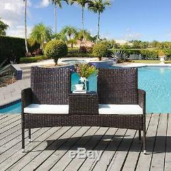 Garden Rattan Furniture Patio Coversation Set with Table and Chairs 2-Seater Set