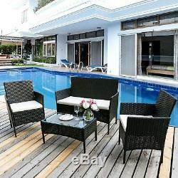 Garden Rattan Furniture Set 4 Piece Chairs Sofa Table Outdoor Patio Conservatory