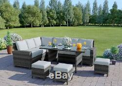 Garden Rattan Weave Furniture Corner Dining Table Sofa Bench Stools FREE COVER
