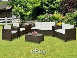 Garden Sofa Set 6 PC Rattan Armchair Mix Brown Low Table Wicker Patio Furniture