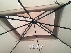 Garden Steel Frame Gazebo With Net Curtains 2.5m x 2.5m Light Brown Beige