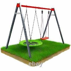 Garden Swings Set Steel Frame Outdoor Playset Children Swings Playground