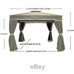 Gazebo Garden Florence 3x3 Mtr Bronze Fully Waterproof Fly Nets And Curtains