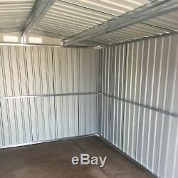 Green Metal Garden Shed 6x4, 8x4, 8x6, 8x10ft Steel House Storage with Free Base