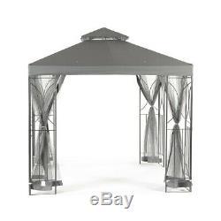 Grey 2.5m Garden Gazebo Polenza Party Tent Patio Shade Outdoor Sun Canopy Nets