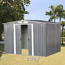 Grey Garden Shed Apex Roof 8x10FT Metal Tool Storage 2 Door with Free Foundation