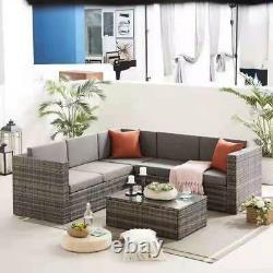 Grey Rattan Garden Furniture Corner Sofa Set Lounger Table Outdoor Patio Lounger