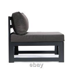 Grey Rattan Patio Outdoor Garden Sofa Set Corner Furniture Settee Aluminium